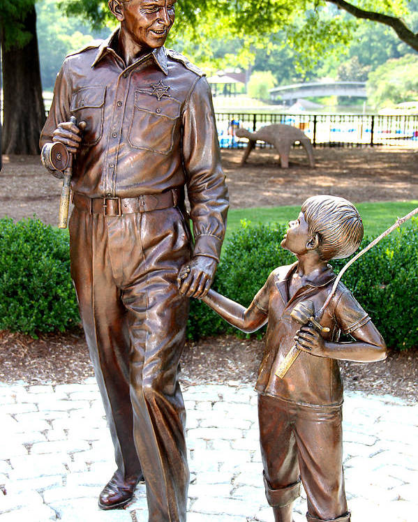 Andy Griffith Poster featuring the photograph Andy And Opie Statue Nc by Frank Savarese