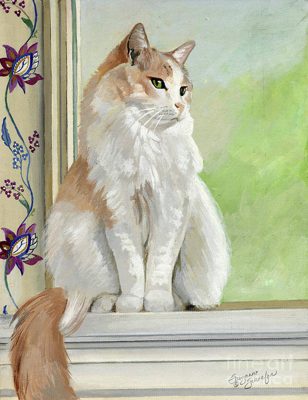 Cats Poster featuring the painting Angel Daydreams by Suzanne Schaefer