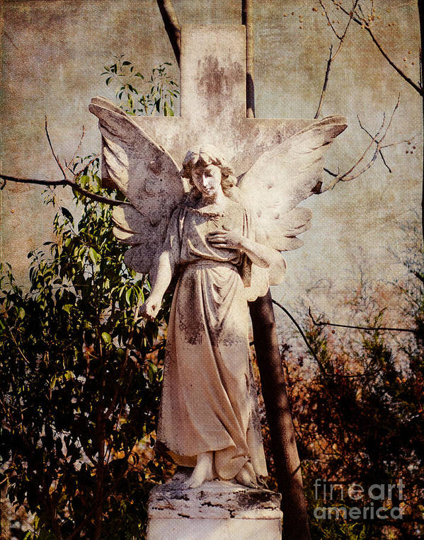 Cemetery Poster featuring the photograph Angel Of Old by Sonja Quintero