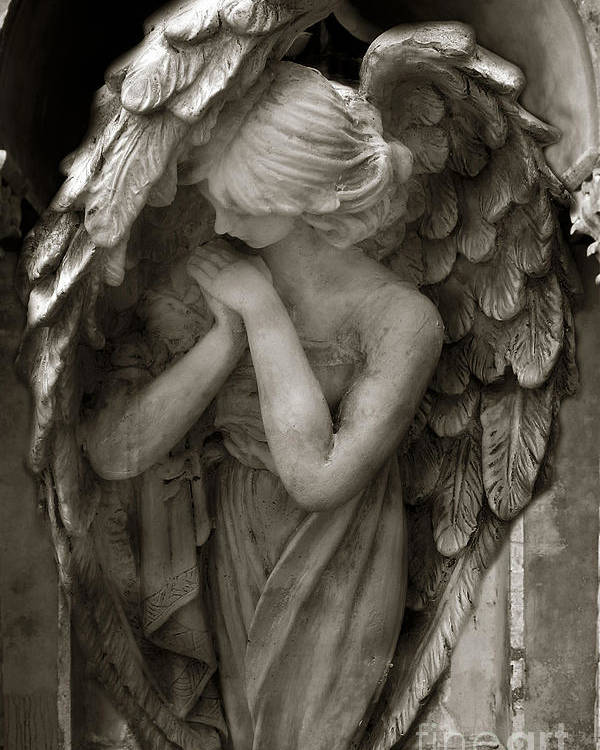 Angels Poster featuring the photograph Angel Photography Spiritual Angel - Guardian Angel In Prayer - Angel Praying by Kathy Fornal