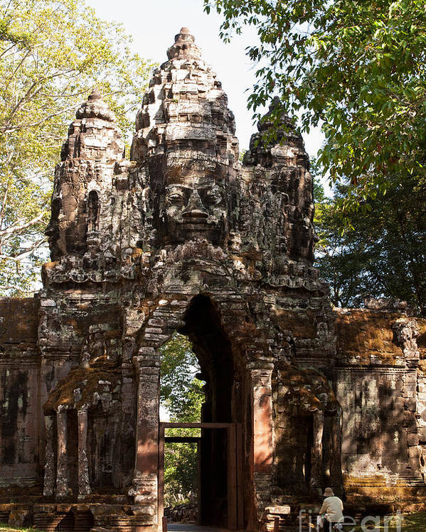 Angkor Poster featuring the photograph Angkor Thom North Gate 01 by Rick Piper Photography