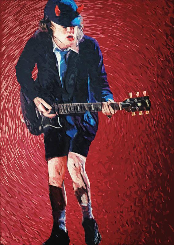 Angus Young Poster featuring the painting Angus Young by Taylan Apukovska