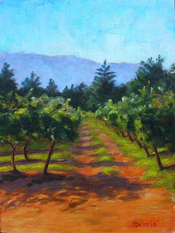Pleinair Landscape Of A Vineyard In Santa Rosa Poster featuring the painting Annadel Shadows by Joyce Delario