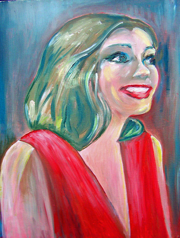 Anne Hathaway Poster featuring the painting Anne Hathaway In Interview by Patricia Taylor