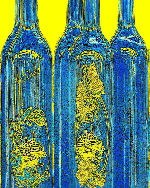 Blue And Yellow Poster featuring the photograph Antibes Blue Bottles by Ben and Raisa Gertsberg