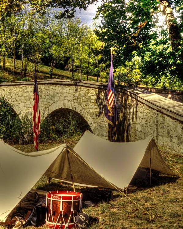 Civil War Poster featuring the photograph Antietam - 8th Connecticut Volunteer Infantry-a1 Encampment Near The Foot Of Burnsides Bridge by Michael Mazaika