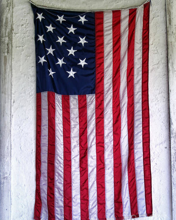 American Poster featuring the photograph Antique American Flag by Olivier Le Queinec