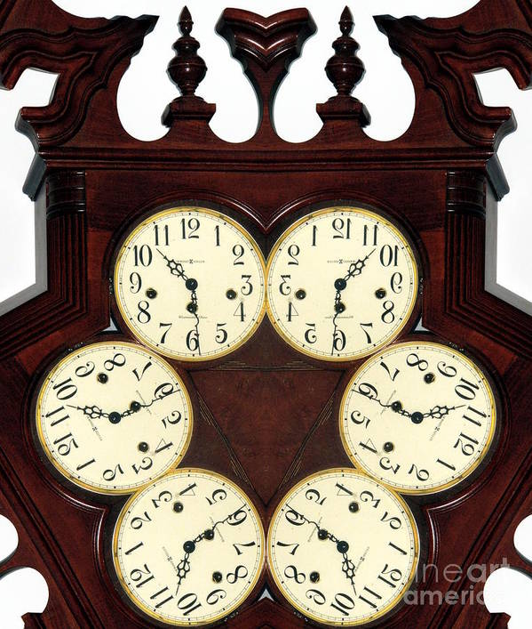 Digital Abstract Poster featuring the photograph Antique Clock Abstract . Standard by Renee Trenholm