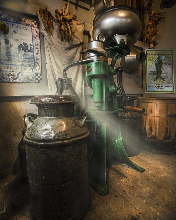 Appalachia Poster featuring the photograph Antique Cream Separator by Debra and Dave Vanderlaan