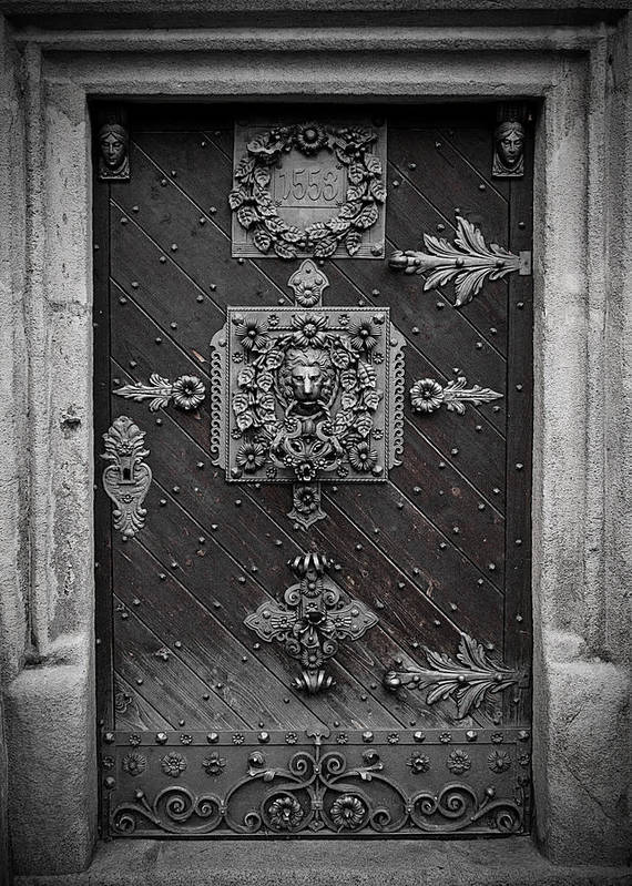 Door Poster featuring the photograph Antique Doors In Budweis by Christine Till