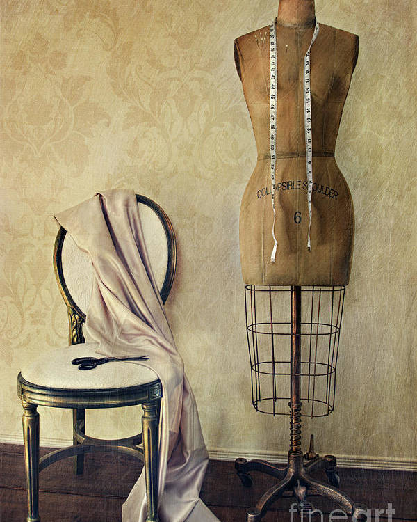 Accessory Poster featuring the photograph Antique Dress Form And Chair With Vintage Feeling by Sandra Cunningham