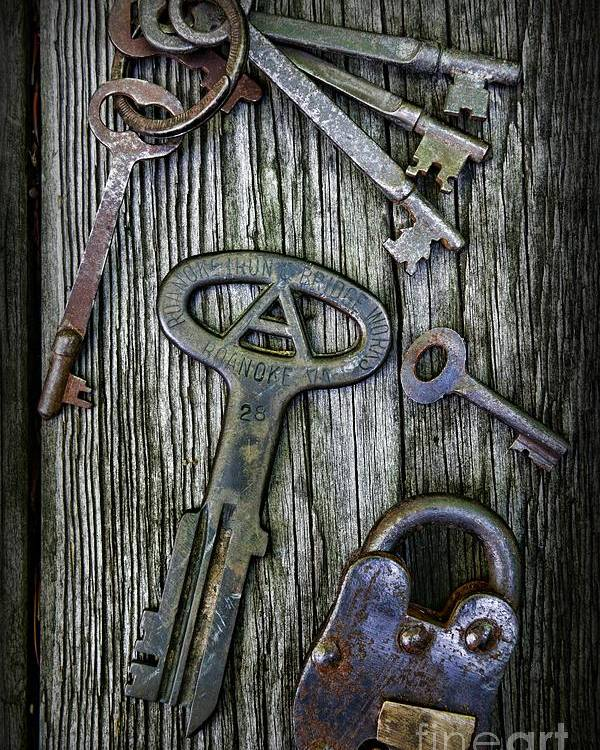 Paul Ward Poster featuring the photograph Antique Keys And Padlock by Paul Ward