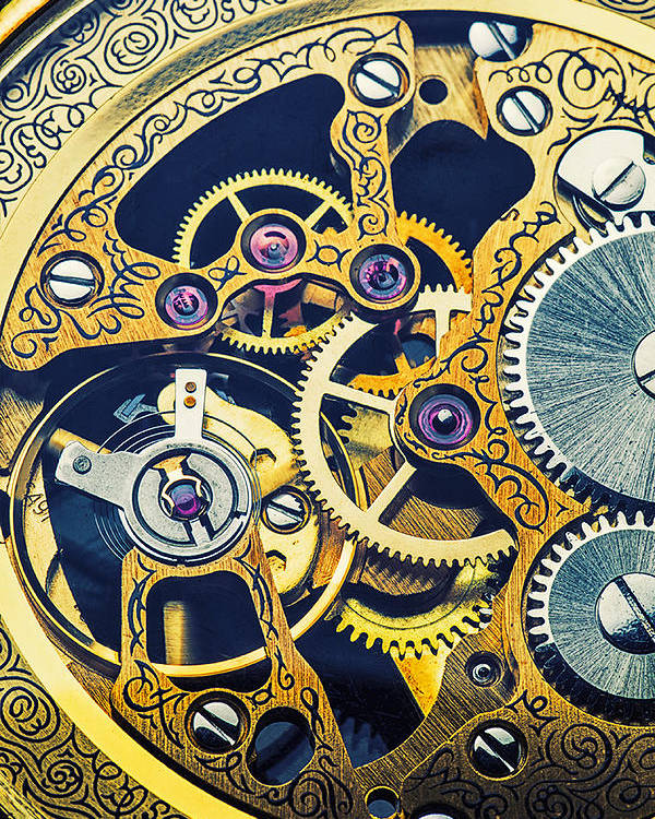 Time Poster featuring the photograph Antique Pocket Watch Gears by Garry Gay