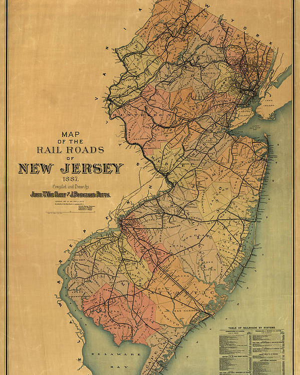 e8521d9e37052 Antique Railroad Map Of New Jersey By Van Cleef And Betts - 1887 Poster