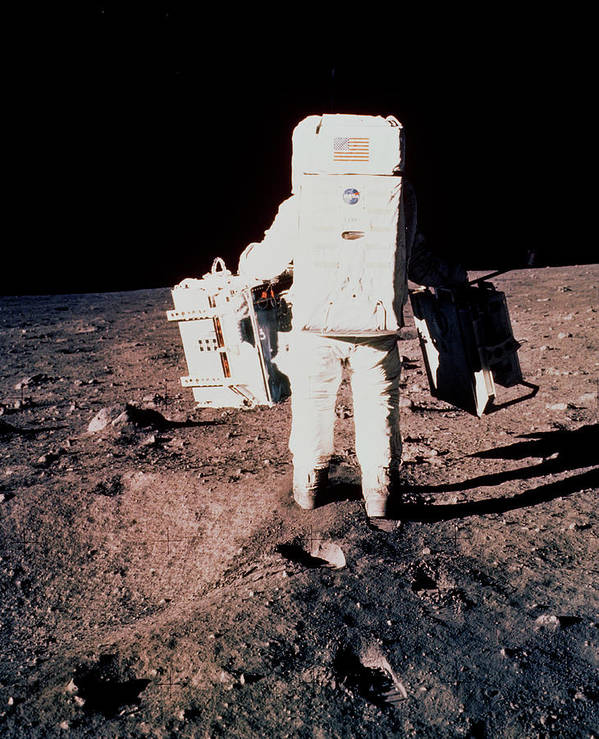 Apollo 11 Poster featuring the photograph Apollo 11 Astronaut Edwin Aldrin Setting Up Easep by Nasa/science Photo Library