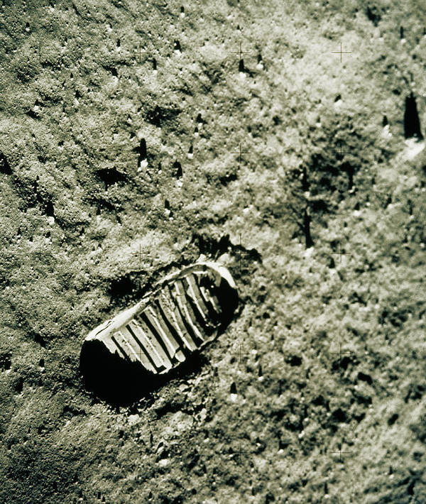 Footprint Poster featuring the photograph Apollo 11 Photo Of Astronaut's Footprint On Moon by Nasa/science Photo Library