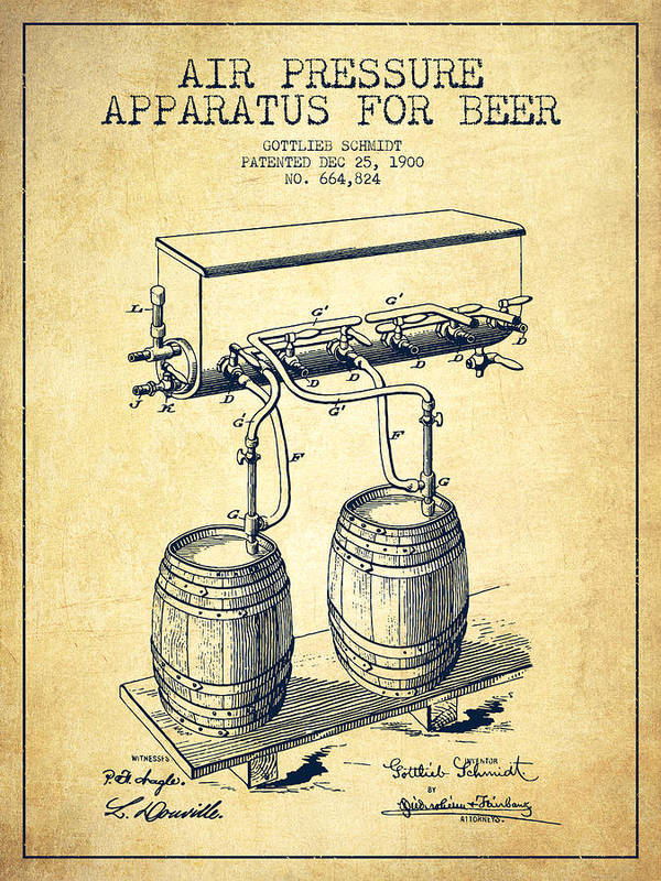 Beer Keg Poster featuring the digital art Apparatus For Beer Patent From 1900 - Vintage by Aged Pixel
