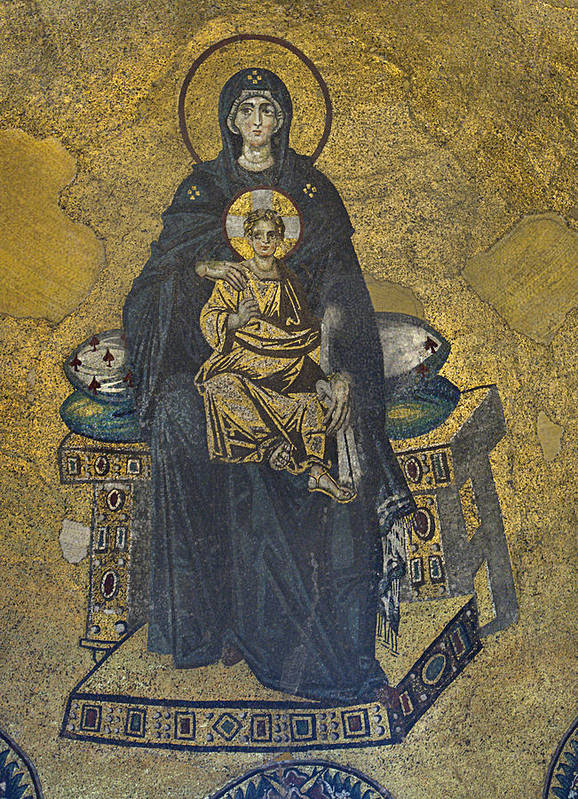 Istanbul Poster featuring the photograph Apse Mosaic Hagia Sophia Virgin And Child by Ayhan Altun