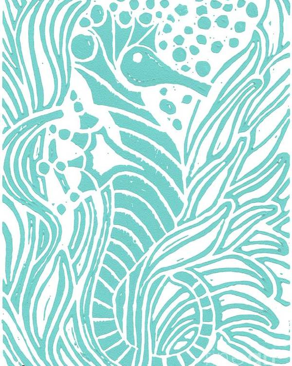 Coastal Art Poster featuring the painting Aqua Seahorse by Stephanie Troxell