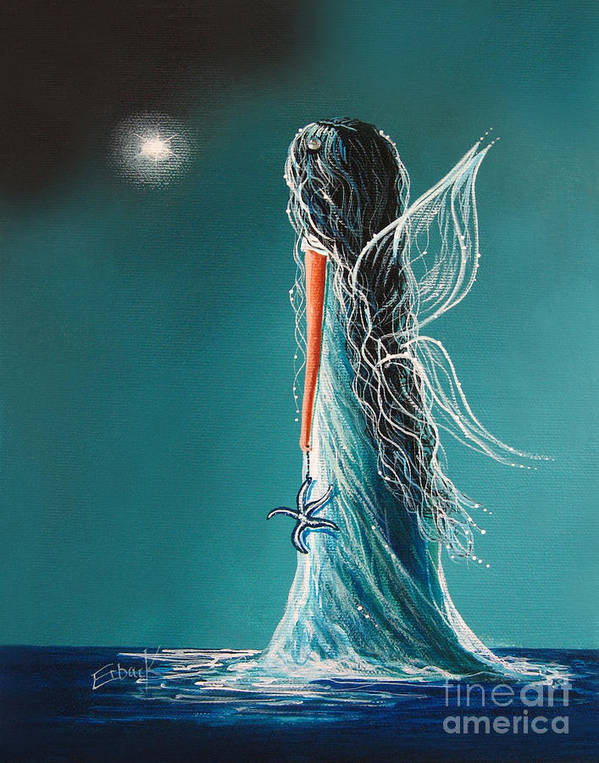 Fairies Poster featuring the painting Aquamarine Fairy By Shawna Erback by Shawna Erback