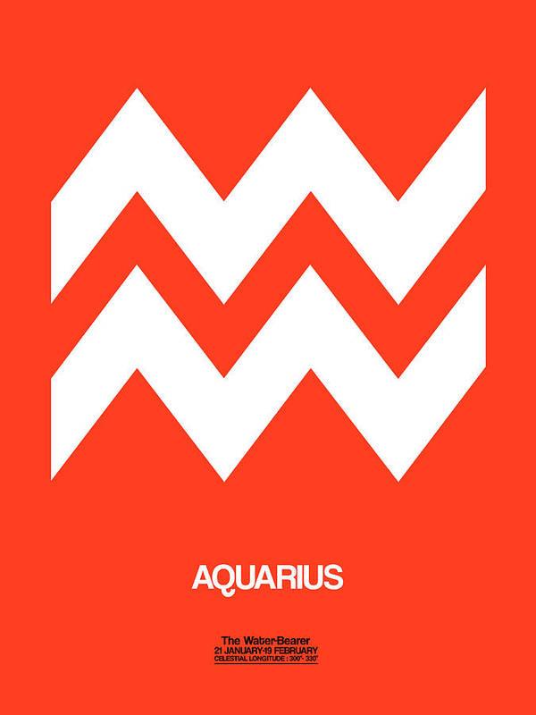 Aquarius Poster featuring the digital art Aquarius Zodiac Sign White On Orange by Naxart Studio