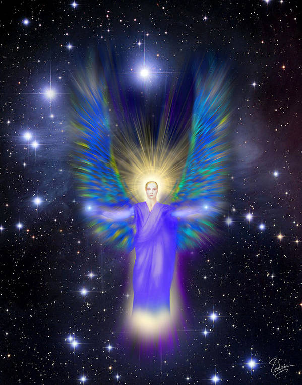 Endre Poster featuring the digital art Archangel Michael by Endre Balogh