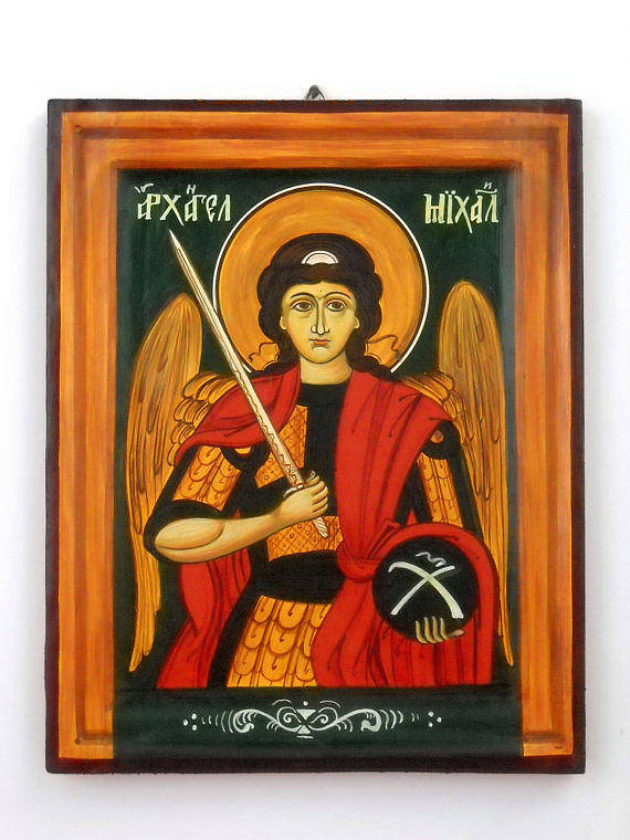 Archangel Michael Poster featuring the painting Archangel Michael Hand-painted Wooden Holy Icon Orthodox Iconography Icons Ikons by Denise Clemenco