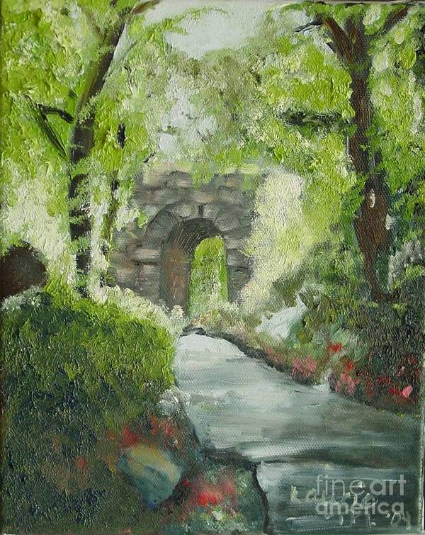 New York Poster featuring the painting Archway In Central Park by Laurie Morgan