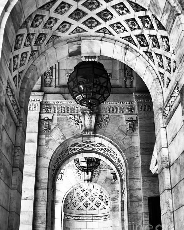 Archways To The Library Poster featuring the photograph Archways At The Library Bw by John Rizzuto