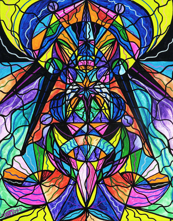 Arcturian Awakening Grid Poster featuring the painting Arcturian Awakening Grid by Teal Eye Print Store