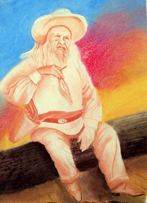 Figure Poster featuring the drawing Arizona Philosopher by Jack Hampton