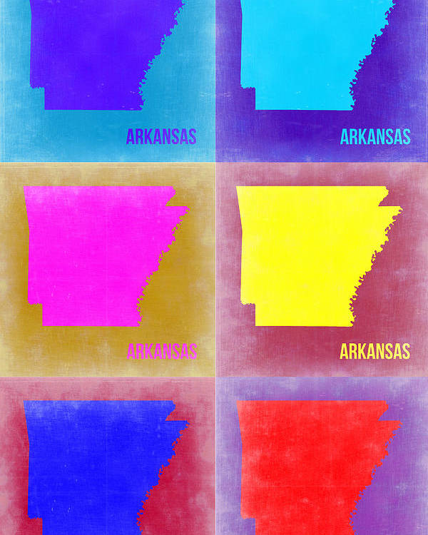 Arkansas Map Poster featuring the painting Arkansas Pop Art Map 2 by Naxart Studio