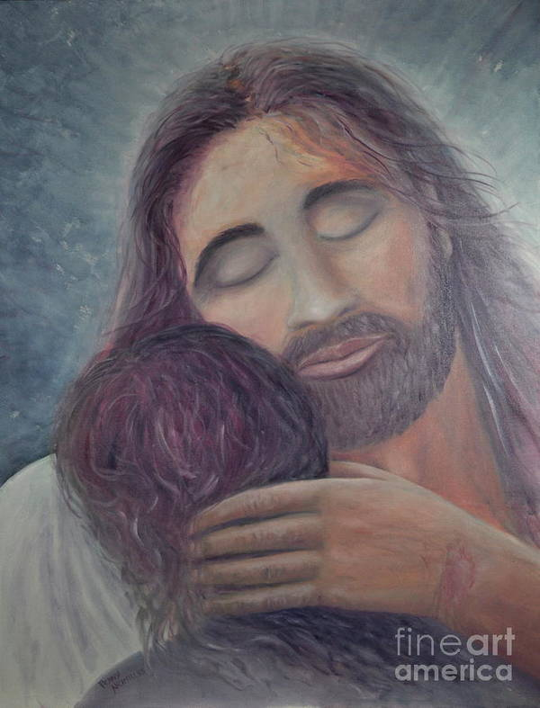 Jesus Poster featuring the painting Arms Of Love by Penny Neimiller