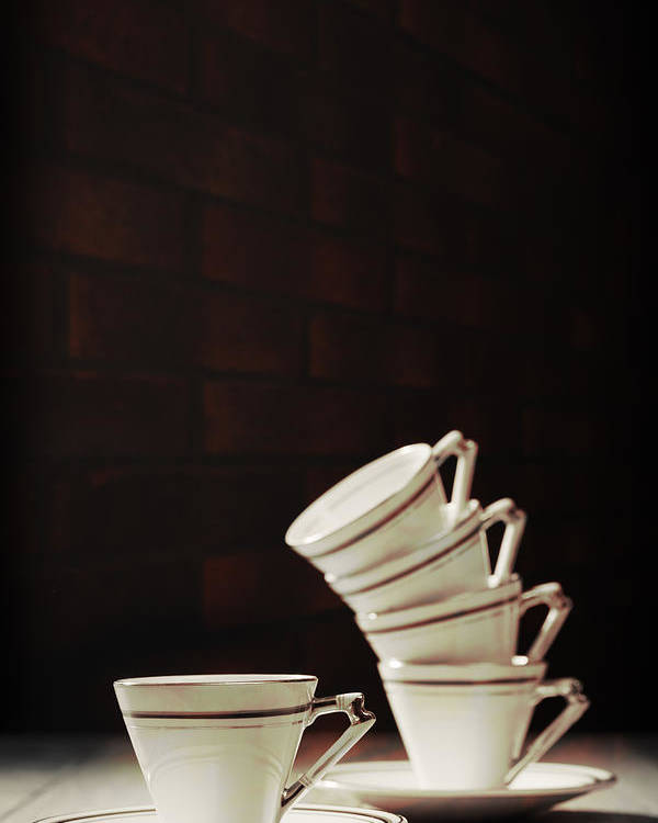 Stack Poster featuring the photograph Art Deco Teacups by Amanda Elwell