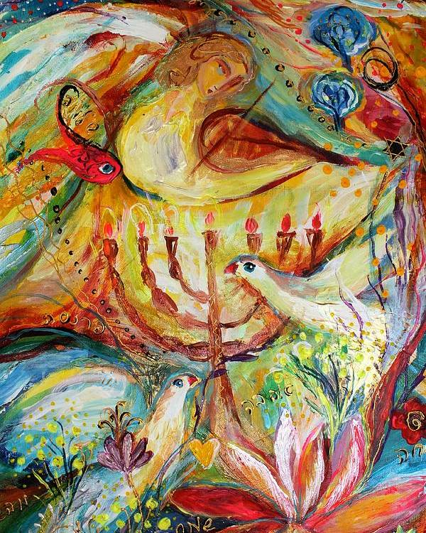 Jewish Art Prints Poster featuring the painting Artwork Fragment 20 by Elena Kotliarker