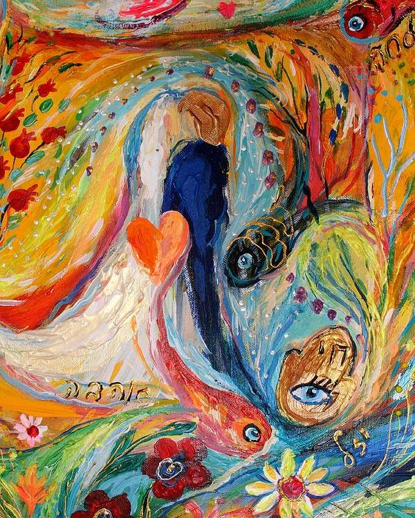 Jewish Art Prints Poster featuring the painting Artwork Fragment 23 by Elena Kotliarker