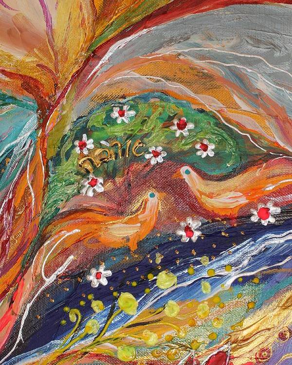 Jewish Art Prints Poster featuring the painting Artwork Fragment 31 by Elena Kotliarker
