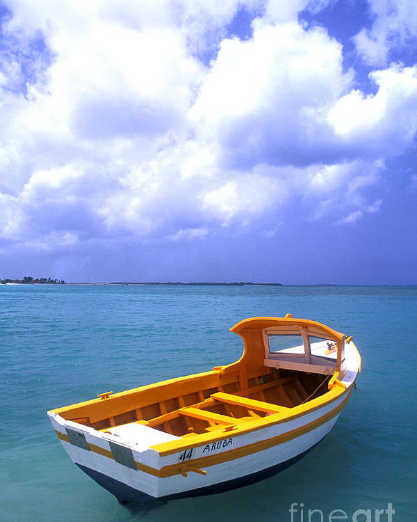 Vibrant Color; Empty; Absence; Transportation; Tranquility; Horizon Over Water; Sea; Fishing Boat; Floating On Water; Travel; No People; Vertical; Outdoors; Day; Aruba Poster featuring the photograph Aruba. Fishing Boat by Anonymous