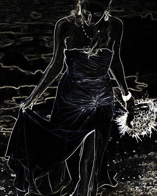 Woman Poster featuring the photograph As Aphrodite Coming From Sea Foam. Black Art by Jenny Rainbow