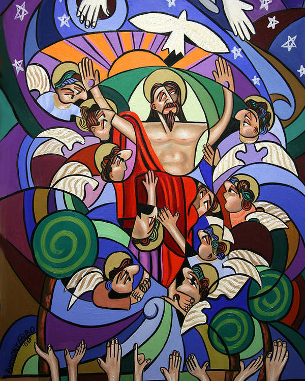 Ascending To The Father Poster featuring the painting Ascending To The Father by Anthony Falbo