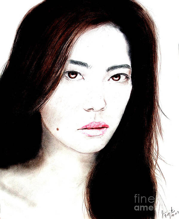 Freckle Faced Asian Beauty Poster featuring the drawing Asian Model II by Jim Fitzpatrick