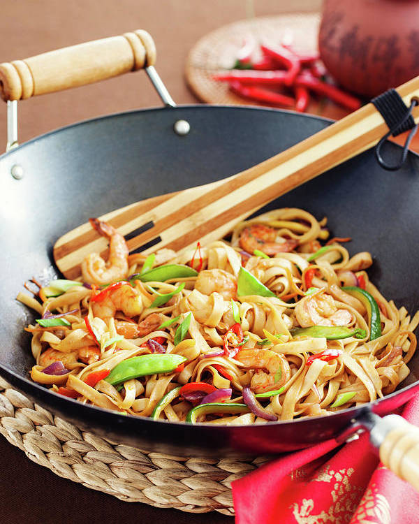 Chinese Culture Poster featuring the photograph Asian Noodle In Wok by 5ugarless