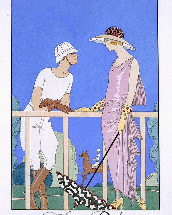 Au Polo Poster featuring the painting At Polo by Georges Barbier