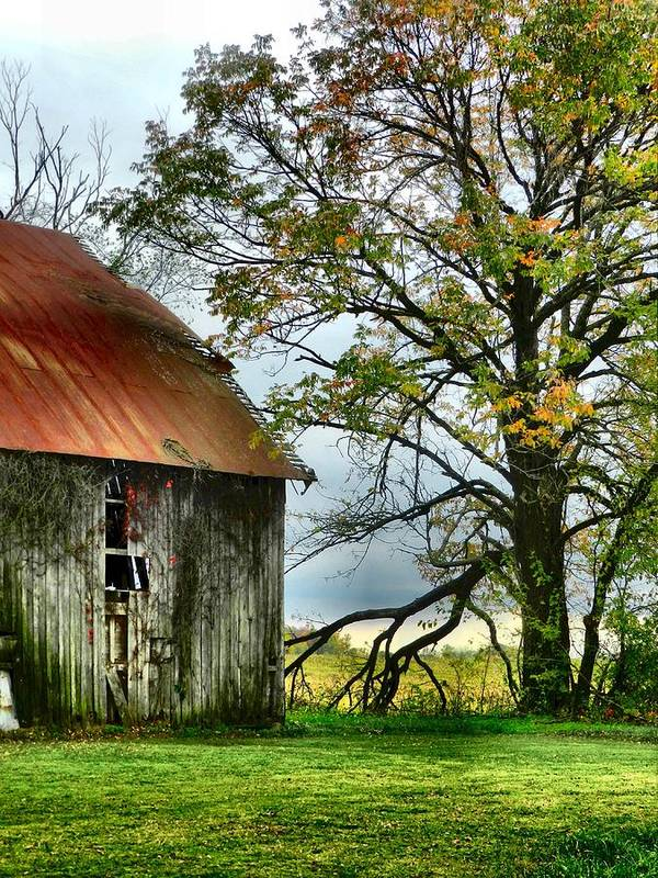 Barns Poster featuring the photograph At The Barn by Julie Dant