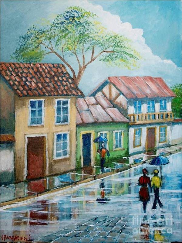 Rain. Street Houses Poster featuring the painting Atardecer Bajo La Lluvia by Jean Pierre Bergoeing