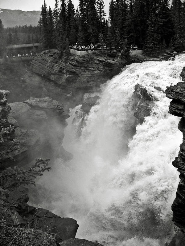 Bw Poster featuring the photograph Athabasca Falls by RicardMN Photography