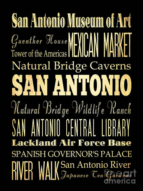 San Antonio Texas Poster featuring the digital art Attractions And Famous Places Of San Antonio Texas by Joy House Studio
