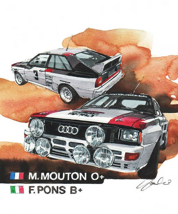 Audi Quattro Rallye Car Poster By Yoshiharu Miyakawa