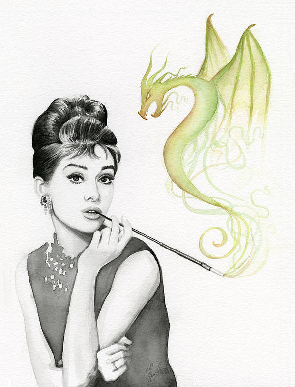 Audrey Poster featuring the painting Audrey And Her Magic Dragon by Olga Shvartsur