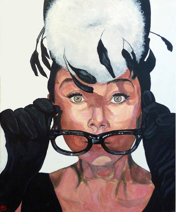 Audrey Poster featuring the painting Audrey Hepburn by Tom Roderick